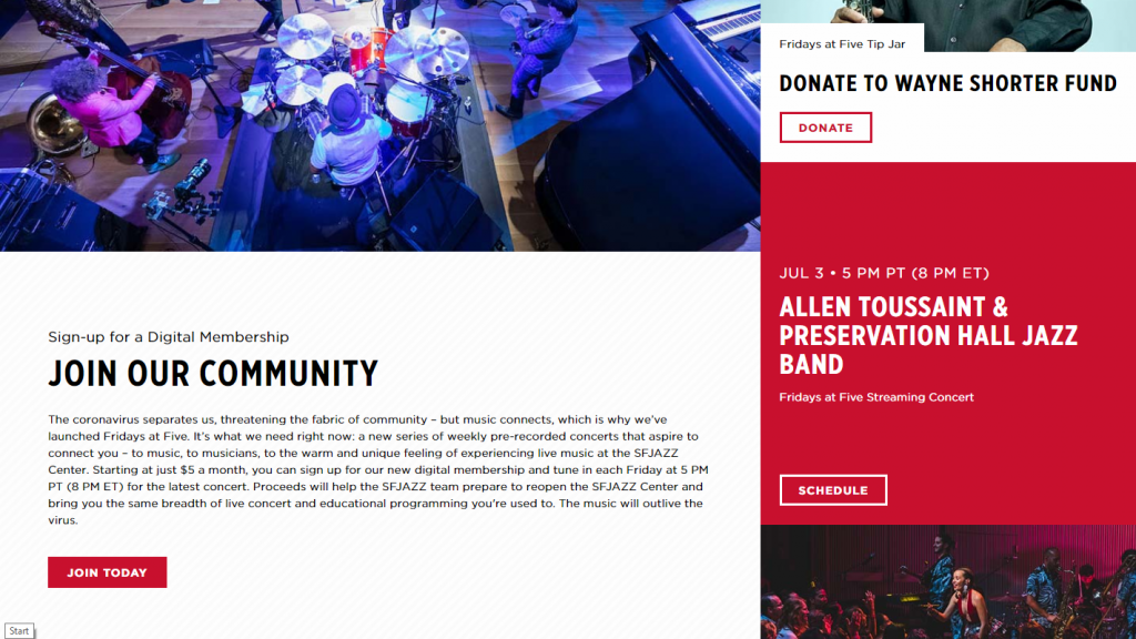 sfjazz digital membership landing page with jazz musicians and calls to action
